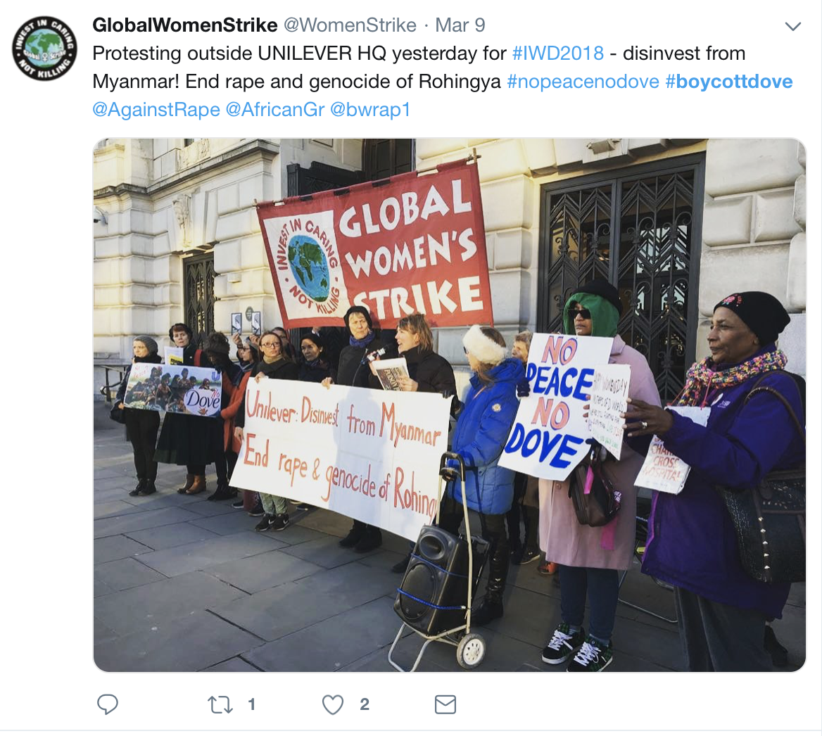 Tweet from Global Women Strike with the Boycott Dove hashtag