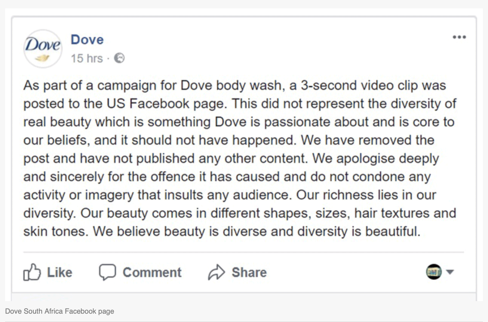 Dove's Apology in South Africa