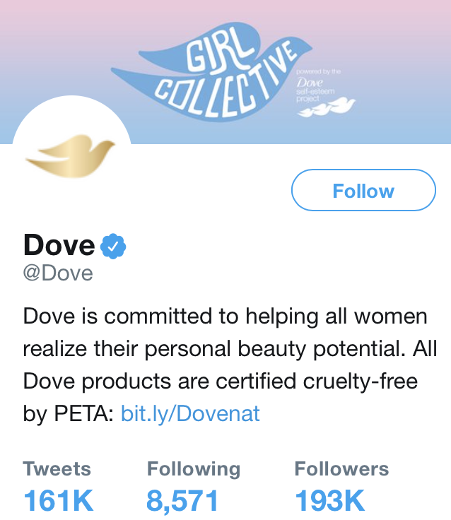 Dove's Twitter Profile